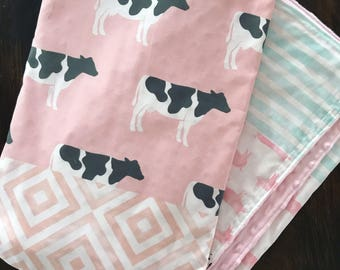 Farm, cow, girl, pig, tractor baby girl blanket, Pink, Blue, Gray