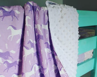 Purple Baby Girl Horse Baby Blanket, Cowgirl Baby blanket, Western Baby Blanket, Boppy Cover, Crib Sheet, Changing Pad Cover