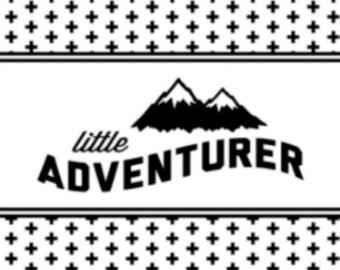 Little Adventurer Baby Blanket, gender neutral, baby boy, baby girl, adventure, outdoor, woodland, camping, hiking