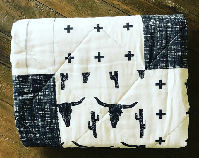 Featured listing image: Longhorn, Cactus Baby blanket, gender neutral baby, Western Baby Blanket, Whole Cloth Quilt, Black, White
