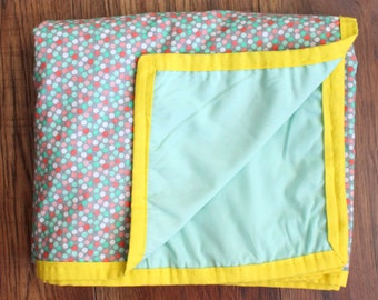 Mint Green and Pink Polka Dot Baby girl Blanket with yellow trim