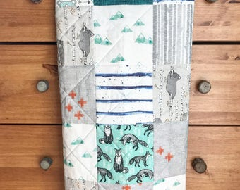 Woodland Baby blanket, bears, fox, stripes, mountains, trees, Baby Boy Blanket, Whole Cloth Quilt, Teal blanket, Blue blanket, Gray blanket