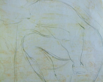 Sketch Faint Kneeling figure, pencil sketch, colored tone; a copy on acid free paper; ca. 1960. Rare. Bowing,   Large is on sale