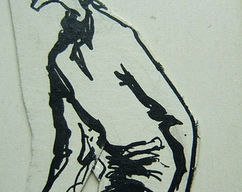 """The Quiet Prisoner; ink drawing, on acid free paper, nice, cute copy ink.  8.5x11"""" image reproduced on acid-free paper."""