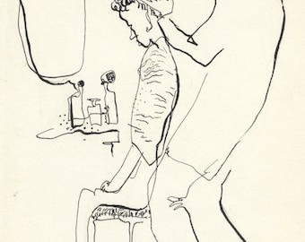 HAIRCUT DAY - most popular print- sketch from the 60's - by D. Messenger - copy - free shipping in USA.