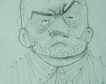 Crewcut Guy, puckish beautiful ink drawing, unknown subject, copy, on acid free paper.