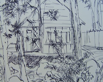 VACATION Cabin in Idyllwild, copy of ink sketch by D Messenger