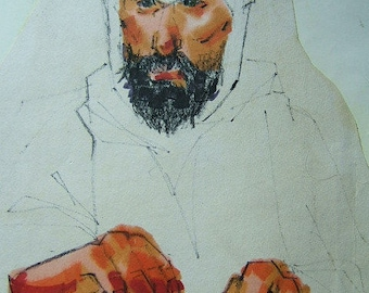 Wise Man in Desert Garb, color marker illust. by D. Messenger, a copy on paper; ca. 1970  Jesus was nearby.