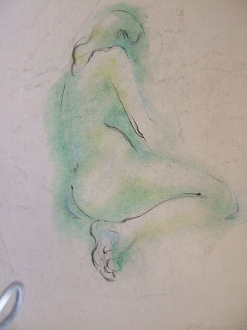 gentle On acid free paper 1948 Nude rare early style green tones INQUIRE ABOUT ORIGINAL  ca