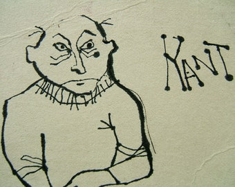 KANT CAN - drawing, ink, reproduction, cute, on acid free paper.  Inquire about original.