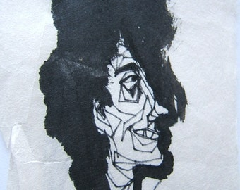 Big Hair Guy - copy of sketch by D Messenger - ink and paper  a copy.   By my mother; Dorothy  Messenger, copyright