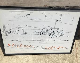 """LARGE Print of Bel Marin Keys by D Messenger, 25"""" x 37.25"""", framed, hanger, black metal frame, unsigned w/letter of authenticity."""