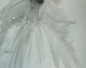 AT THE BALL - Flowing dress on model - Dorothy Messenger,  on off white acid free paper. A Copy of the rare original.