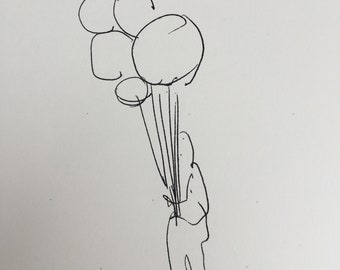 """Child with Balloons, sketch, a copy, in Turkey 1990's; 8.5 x 11"""" free ship in USA by D. Messenger."""