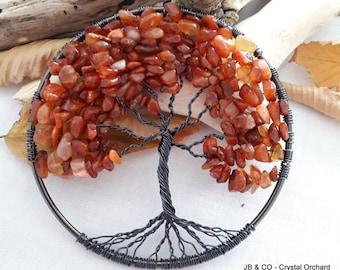 Carnelian Tree of Life, Carnelian Tree, Decorative Tree, Carnelian Tree Hanging, Wire Tree, Gemstone Tree,  Halloween Tree, Black Tree