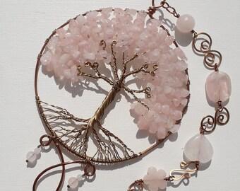 Rose Quartz Decorative Tree, Gemstone Tree, Crystal Tree, Rose Quartz Sun Catcher,Rose Quartz gift, Gemstone Sun Catcher, Tree of Life,