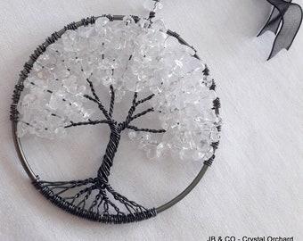 Quartz Tree of Life, Quartz Tree, Decorative Tree, Quartz Tree Hanging, Wire Tree, Gemstone Tree,  Halloween Tree, Black Tree