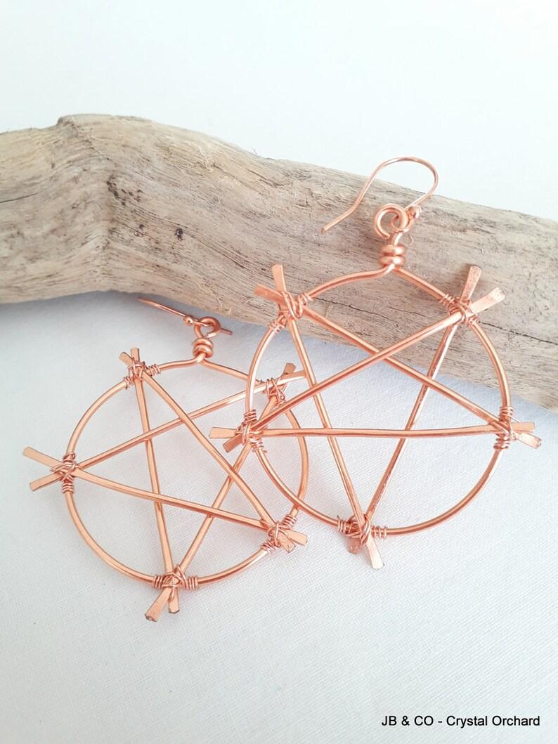 Copper Pentacle Earrings Copper Earrings Witch Earrings image 0