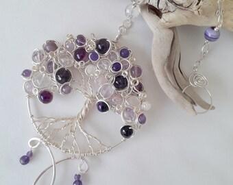Purple Gemstone Tree, Purple Sun Catcher, Gemstone Sun Catcher, Decorative Tree, Gemstone Tree, Tree Sun Catcher, Purple Gifts, Silver Tree