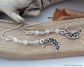 Halloween Earrings, Crescent Moon Earrings, Moon Earrings, Quartz Earrings, Gemstone Earrings, Witchie Earrings,Fun Earrings