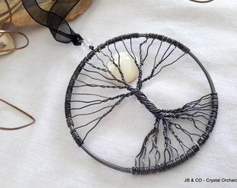 Moon Tree of Life, Wire Tree, Decorative Tree, Quartz Tree Hanging, Wire Tree, Gemstone Tree,  Halloween Tree, Black Tree, Full Moon Gift