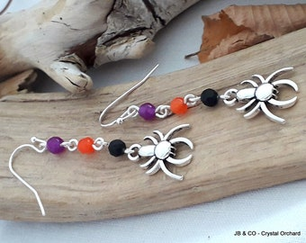 Halloween Earrings, Spider Earrings, Witchie Earrings, Agate Earrings, Gemstone Earrings, Fun Earrings, Spider Gift