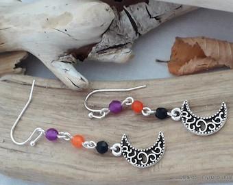 Halloween Earrings, Crescent Moon Earrings, Moon Earrings, Agate Earrings, Gemstone Earrings, Witchie Earrings,Fun Earrings
