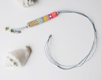 necklace pendant driftwood glas bead sea lampwork Ethno handmade art JEVO