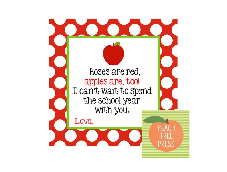 graphic about Apples to Apples Cards Printable titled Present Tag Printable Roses are Purple, Apples are as well! I Cant Be reluctant towards Pay back the Faculty Calendar year with Your self! - Apple Topic Quick Obtain