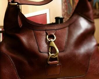 Vintage leather handbag, shoulder bag, ladies purse.