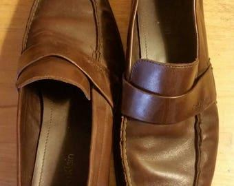 Vintage brown leather Calvin Kleins men's loafers shoes, 9M
