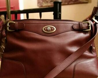 Vintage Etienne Aigner leather shoulder bag, handbag, purse.