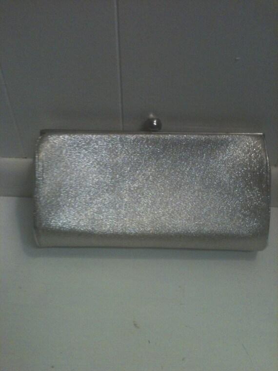 Argent métallisé sac à main Vintage, embrayage.