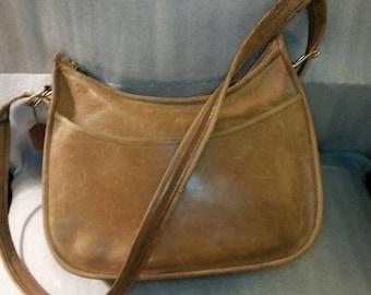 Vintage leather Coach tan distressed satchel, crossbody, messenger, saddlebag, purse.