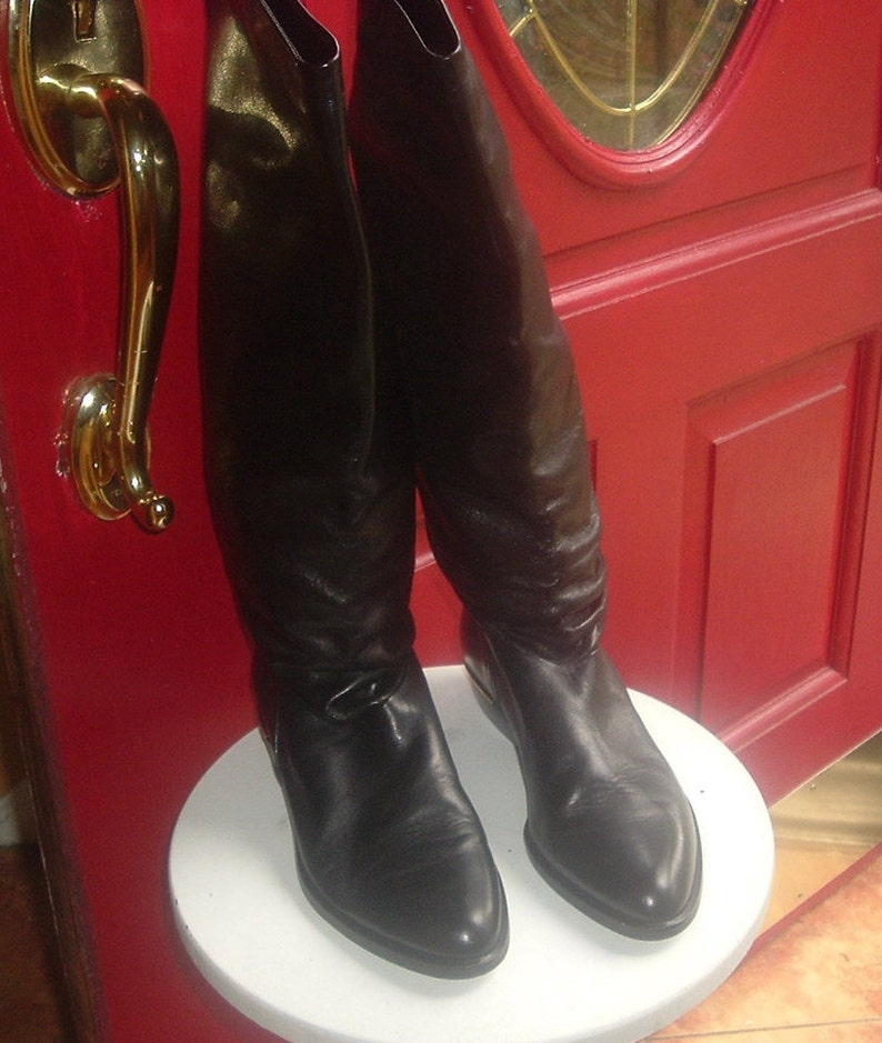 25cd6f2ba9 Vintage black leather riding boots Sudini made in Italy 7AA