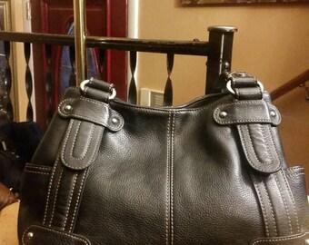 Vintage black leather Tignanello purse, handbag, shoulder bag.