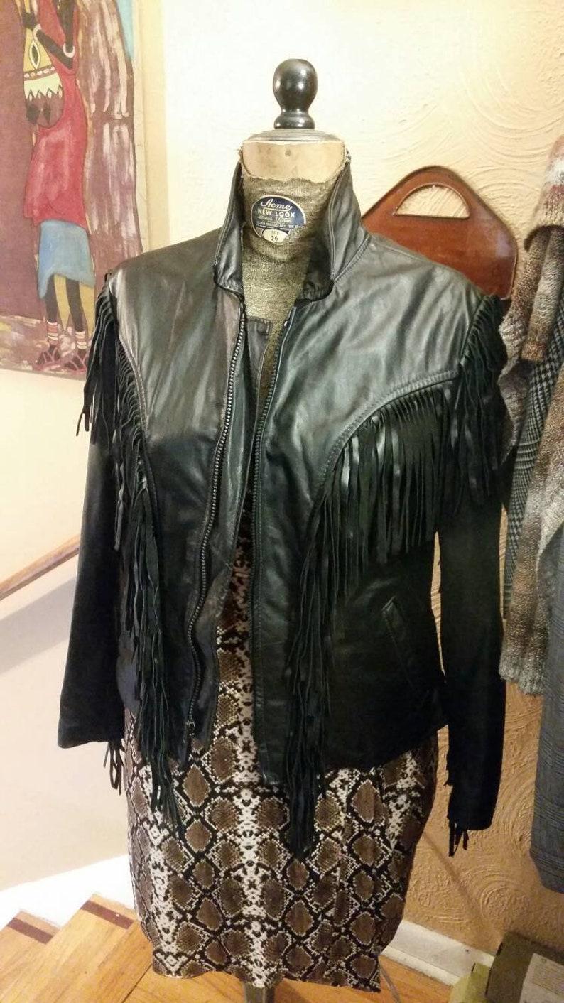 d99f9b0c99a2 Vintage Brooks leather women's fringe motorcycle jacket | Etsy