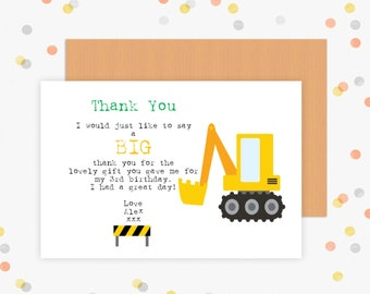 Pack of 10 personalised Birthday thank you cards- Digger construction