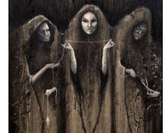 The Fates PRINT, Three Norns print, Viking mythology, Norse myth, Greek mythology, pagan art, heathen art, Web of Wyrd, Moirai, dark icon