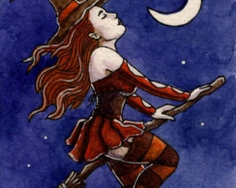 ACEO ORIGINAL MINIATURE art 'Autumn Witch Flying' witch aceo, hedge riding, flying ointment, witch on broomstick, miniature watercolor