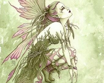 ORIGINAL FAIRY ART 'Purple Blush' watercolour painting, original fairy painting, green fairy, purple faery, nature faerie, A4