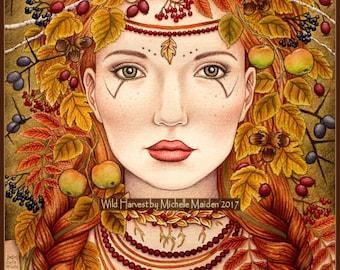 Wild Harvest PRINT, Autumn print, wild woman art, Mabon art, Lammas art, harvest festival, Autumn Godddess, wild hedgerow food, fall colors