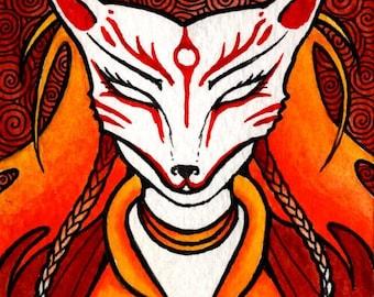 Autumn Fire Kitsune ACEO, ORIGINAL MINIATURE art, Japanese Mythology, trickster spirit, fox spirit, shapeshifter
