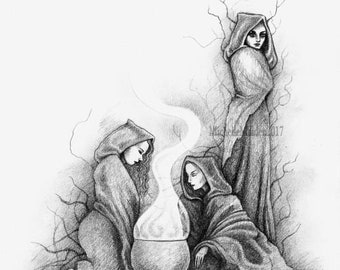 LIMITED EDITION PRINT 'Daughters of the woods' three witches coven art, traditional magic spell casting, cauldron, woodland magic, 3 friends