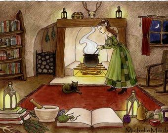 ORIGINAL colouring 'Witches Kitchen' original witch art, cunning woman, herbalist, cottage, cauldron, black cat, ooak mixed media artwork