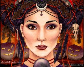 Samhain PRINT, Halloween print 'Samhain Night' witch witchcraft, crystal ball, psychedelics, crow skull divination belladonna Jack o lantern