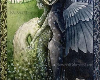 Blodeuwedd PRINT, Celtic mythology, Goddess art, Celtic myth print, Mabinoginon art, May Queen, owl woman, flower face, Wheel of the Year