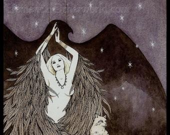 Freya PRINT, Viking Goddess Freya art, Norse mythology, Heathen art, Irminsul design, Yggdrasil, Northern Tradition, falcon, cats, A4 print
