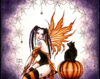 Pumpkin Fairy, signed PRINT Halloween art, Samhain artwork, halloween fairy art, black cat and pumpkin, faery gothic faerie purple orange