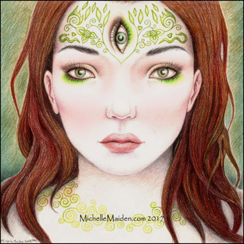 pineal gland psychic red hair third eye coloured pencil crayons witch art ORIGINAL drawing /'The Sight/' fantasy portrait sixth sense